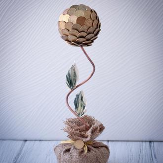 Топиарий (дерево счастья) из монет маленький