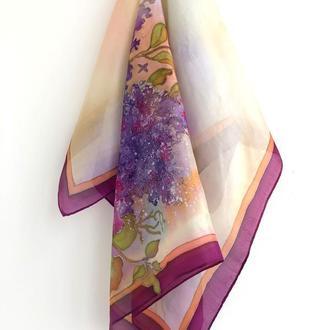 """Шелковый платок """"Сирень"""", натуральный шелк"""