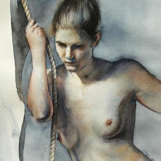 Картина обнаженная девушка акварель в рамке