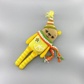 Лимонный медвежонок, вязаная игрушка с пищалкой