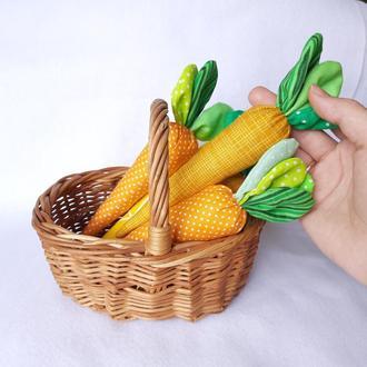 Текстильная морковка, морковка из ткани, декор для фотосессии, мягкая игрушка для малышей
