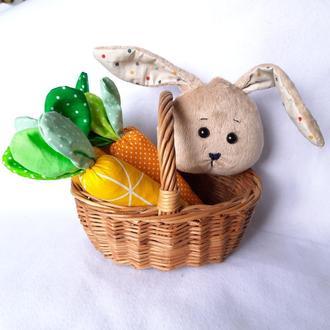 Пасхальный Кролик, пасхальный зайчик, сувенир на пасху, пасхальный декор плюшевый зайчик яйцо