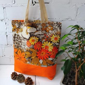 """Эко сумка для покупок """"Лесная поляна"""", льняная сумка пакет, эко торба, шоппер"""