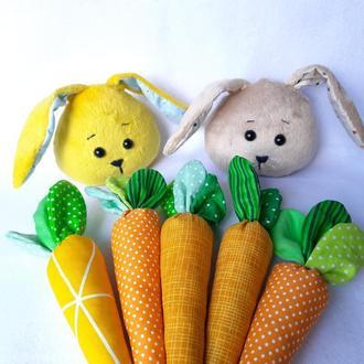Набор кролик + 5 морковок. Мягкие игрушки детям. Декор для фотосессии новорожденных