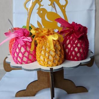 Пасхальный декор Пасхальное украшение для яиц Вязаные сеточки на пасхальные яйца Пасхальные яйца