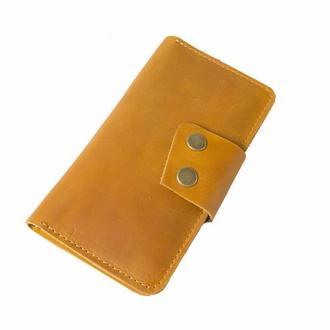 Кожаный кошелек на кнопках. 08014/желтый