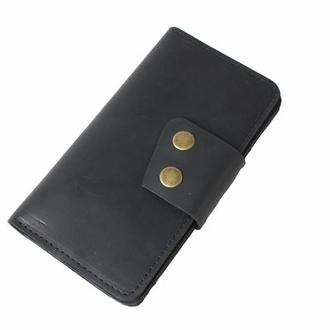 Кожаный кошелек на кнопках. 08014/черный