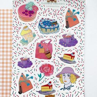 """Стикеры для планеров """"тортики"""" а5, стикеры для скрапбукинга, красивые стикеры набор"""