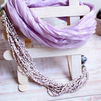 колье из шелка и бисера в лиловых тонах