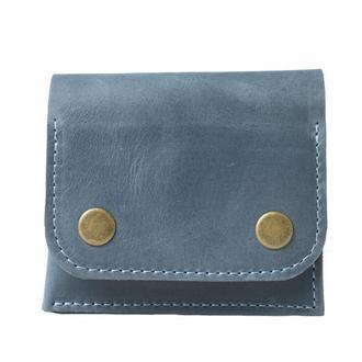 Кожаный кошелек на кнопках. 08015/голубой