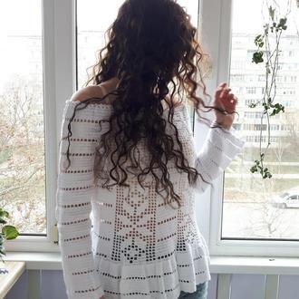 белая ажурная туника в бохо стиле из 100% натурального хлопка