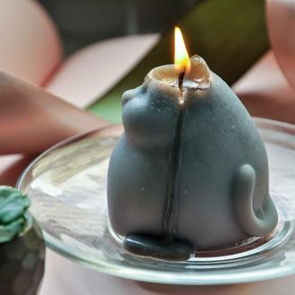 Свеча из соевого воска Котик ароматизированная фигурка кот котенок декоративная интерьерная