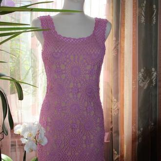 Летнее ажурное платье - сарафан из хлопка розового цвета размер 46