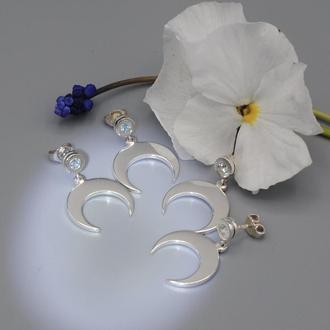 Серебряные серьги Лунница с топазами