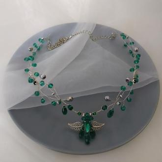 Эльфийская тиара зелёное украшение в прическу тика Изумрудное Украшение