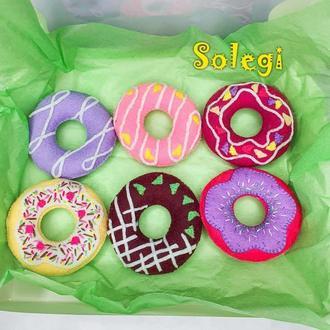 Набор пончиков DONUTS из фетра//Игрушки развивающие эстетическое восприятие и мелкую моторику