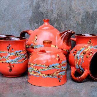 """Чайний набір на 4 особи, декор """"Крайка"""" червоний"""