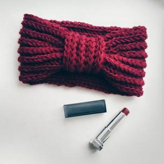 Вязаная повязка на голову, теплая осенняя повязка на голову, чалка повязка, полоска на голову