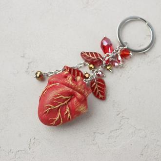 """Брелок """"Красное сердце"""". Брелок для ключей, рюкзака или для сумки. Анатомическое сердце."""