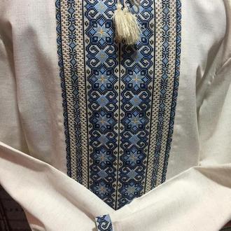 Стильна чоловіча вишиванка на сірому льоні. Сорочка. TM SavchukVyshyvka