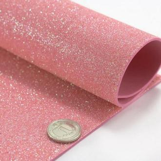 Фоамиран с глиттером розово-персиковый, без к/о, 1,6 мм. 20*30 см