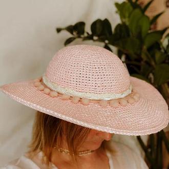 Натуральная Летняя шляпа из рафии с широкими полями на обхват головы 53-54.5 см