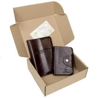 Подарочный набор №6(коричневый): обложка на паспорт + картхолдер