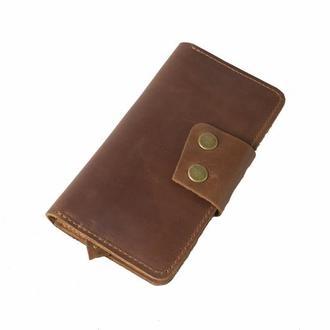 Кожаный кошелек на кнопках. 08014/коньяк