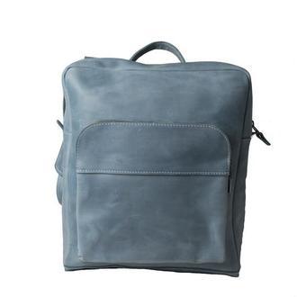 Кожаный рюкзак на молнии. 01006/голубой