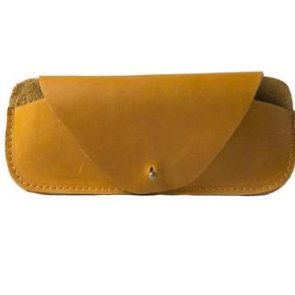 Кожаный чехол для очков на кобурной застежке. 02009/желтый