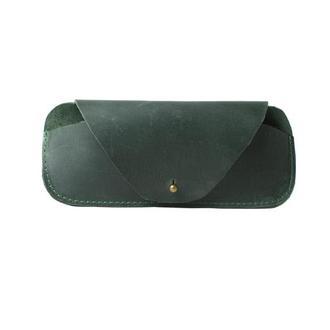 Кожаный чехол для очков на кобурной застежке. 02009/зеленый