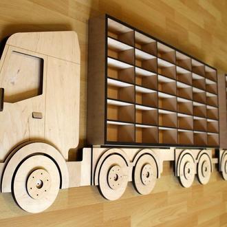 Полка Toy Truck в детскую комнату мальчика для игрушечных машинок