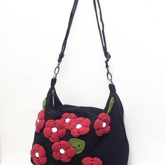 сумка тканевая+цветы
