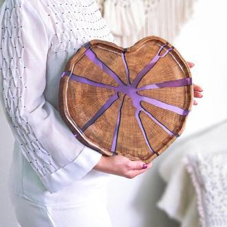 Піднос у формі серця, деревянный поднос, поднос-сердце