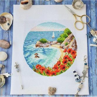 """Схема вишивки хрестиком """"Квітучий берег моря"""""""