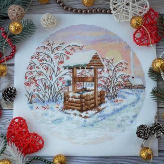 """Схема вишивки хрестиком """"Зима. Пори року. Серія """"Кринички"""" ( кругла форма )"""