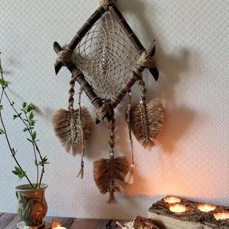 Ловец снов панно настенное украшение макраме интерьерное панно картина гобелен свадебные декорации