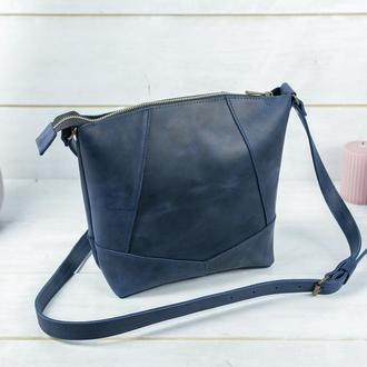 Кожаный шоппер Диамант, винтажная кожа, цвет синий