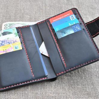 Вертикальное стильное портмоне из натуральной кожи  D10-0+red