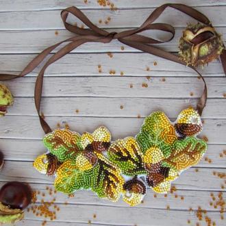 Ожерелье, колье, эксклюзивное украшение из бисера