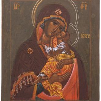 Православная рукописная икона «Богоматерь «Умиление» (список с иконы нач. XVI в.), Киев