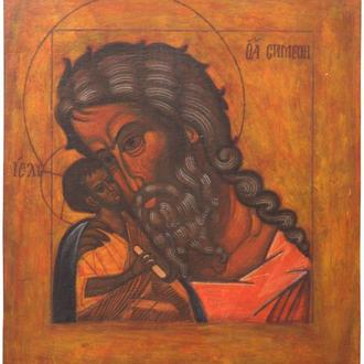 Рукописная православная икона «Симеон с младенцем Христом» (список с иконы XVI в.), Киев