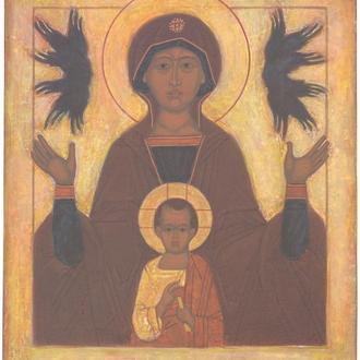 Рукописная православная икона «Богоматерь «Знамение» (список с иконы серед. XVI в.)