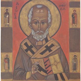 Рукописная православная икона «Николай Чудотворец» (список с иконы начала XIV века)