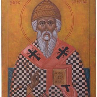 Рукописная православная икона «Святой Спиридон» (список с иконы XIV века)