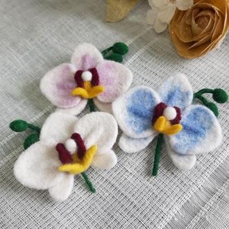 Брошь Орхидея -  из шерсти