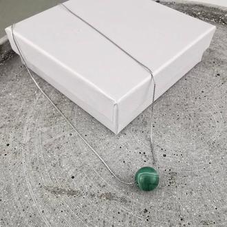 Подвеска чокер из зеленого агата