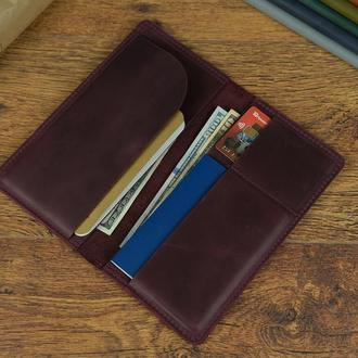 Кожаный кошелек Лонг Тревел с натуральной кожи