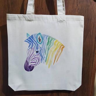 Сумка-шоппер, экосумка с вышивкой радужной зебры