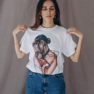 """Женская футболка с авторским принтом """"Маки"""""""